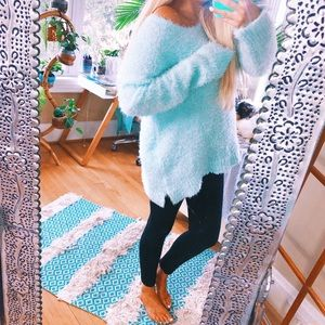 Plush Fuzzy Baby Blue Oversized Dreamers Sweater